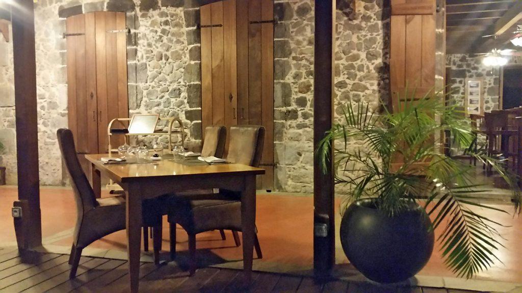 terrasse du restaurant en Guadeloupe