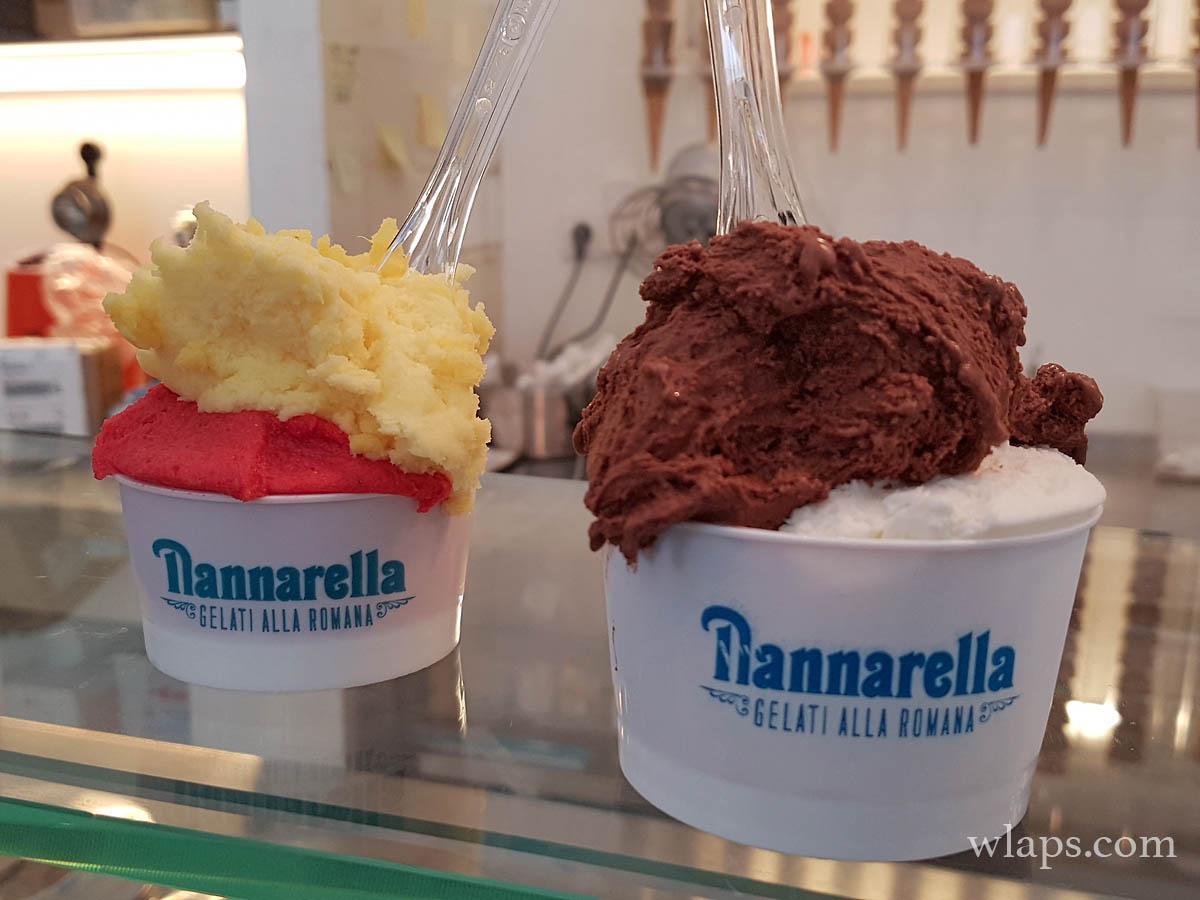 Deux pots de glace Nannarella à Lisbonne