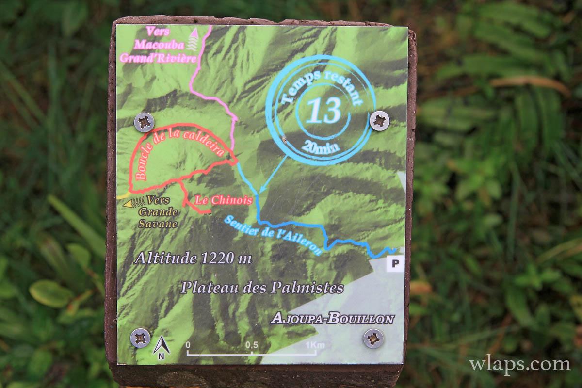 Panneau de randonnée Ajoupa Bouillon