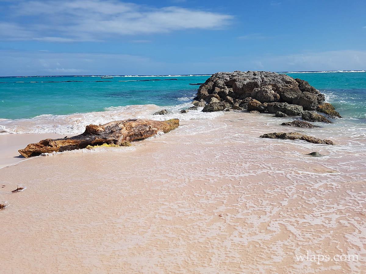 Les plages de Marie Galante décryptées : Rocher sur la plage de la Feuillère