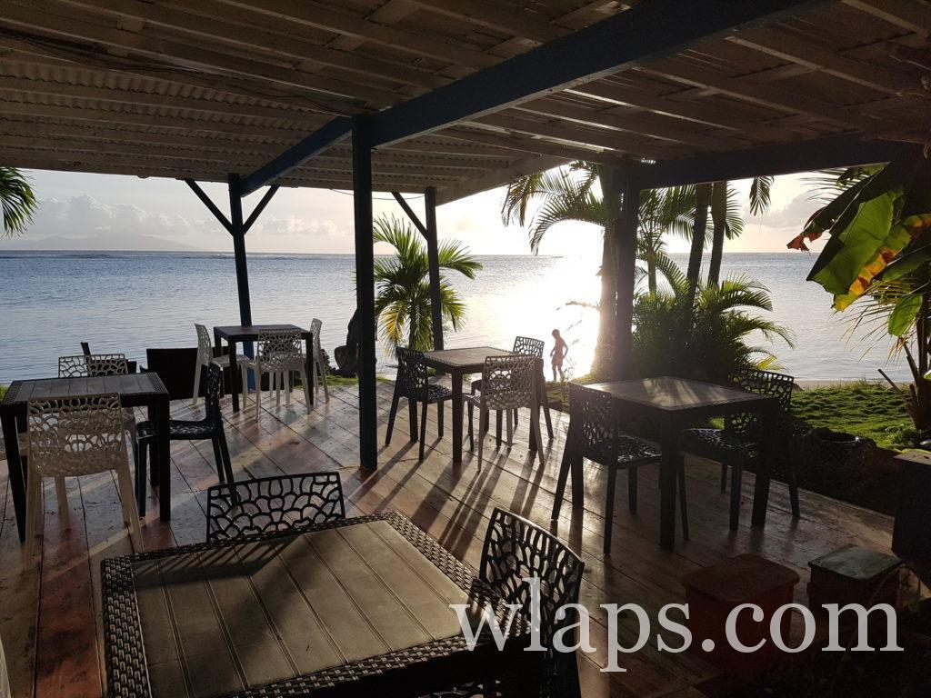 Vue au restaurant le sun 7 beach à Marie Galante