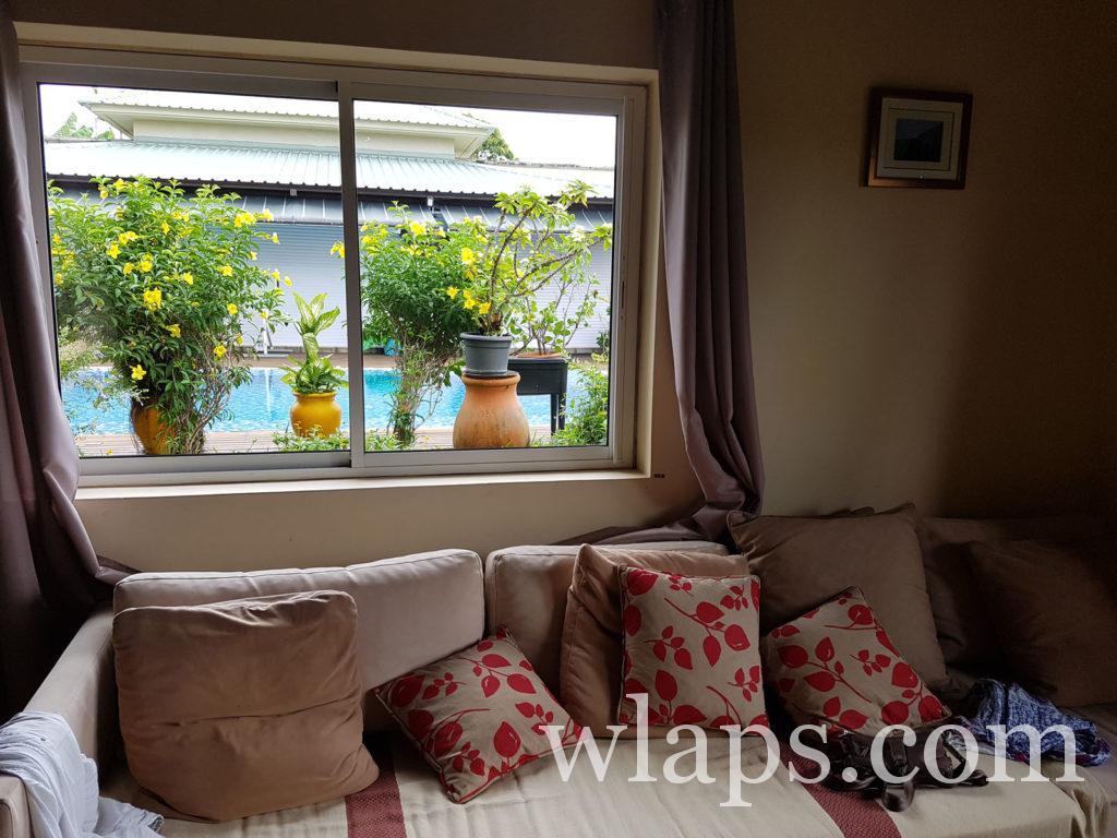 La vue depuis notre maison louée à l'île Maurice
