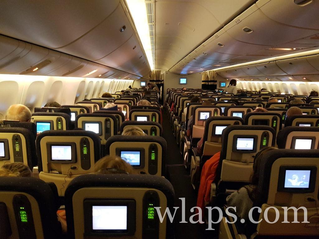 intérieur de l'avion air france pour rejoindre la Guadeloupe