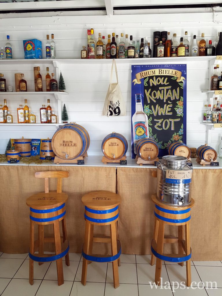 La boutique de la distillerie Bielle à Marie Galante
