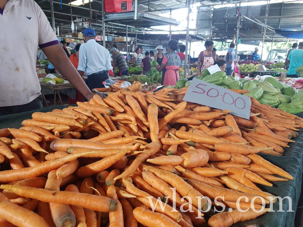 carottes locales et légumes exotiques à l'île Maurice