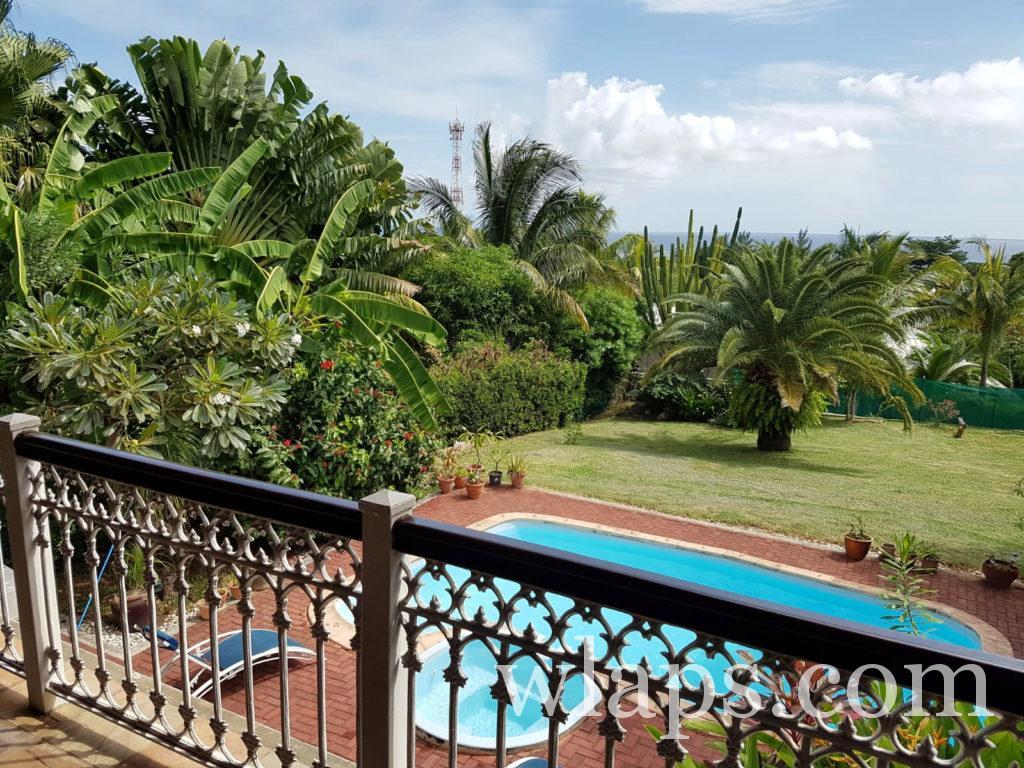 Vue sur l'océan depuis notre villa louée à l'ile Maurice