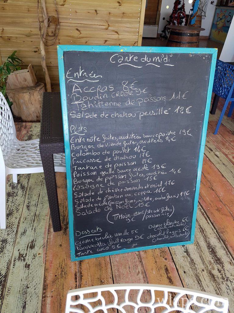 Carte du restaurant sun 7 beach à marie galante : le meilleur restaurant de Marie Galante