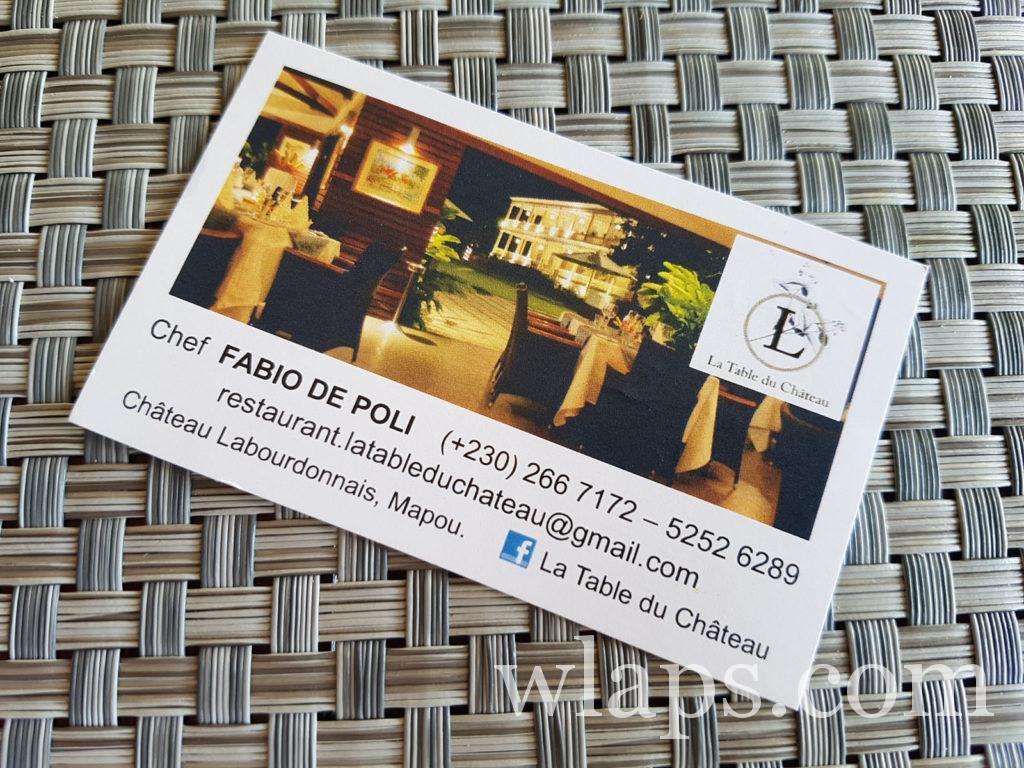 carte de visite du restaurant de mapou