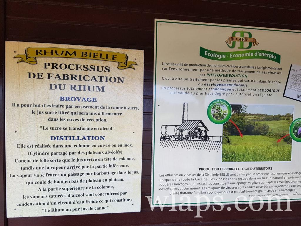 Panneaux sur la visite de la distillerie Bielle. Parmi les activités à faire lorsqu'il pleut à Marie-Galante