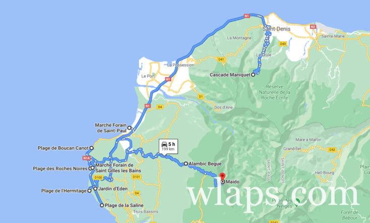 Carte de la réunion pour aider à trouver où loger sur l'ile