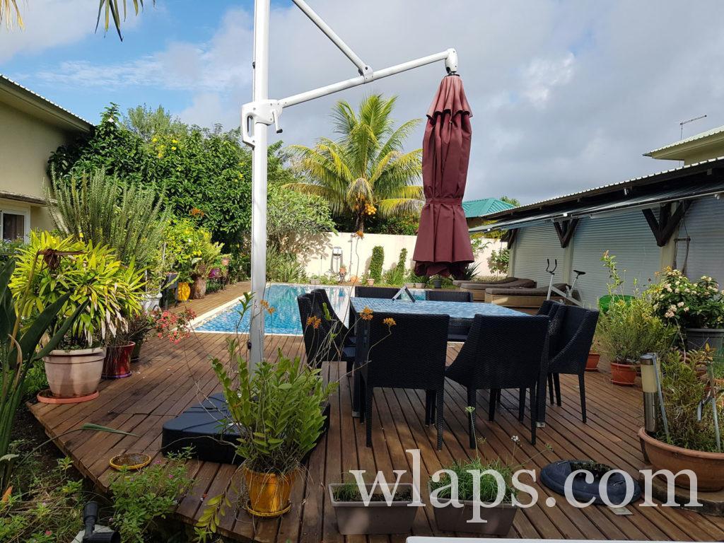 terrasse de la maison de location à l'ile Maurice