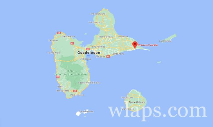 Carte pour vous situer où se trouve le traiteur Poivre et Vanille en Guadeloupe