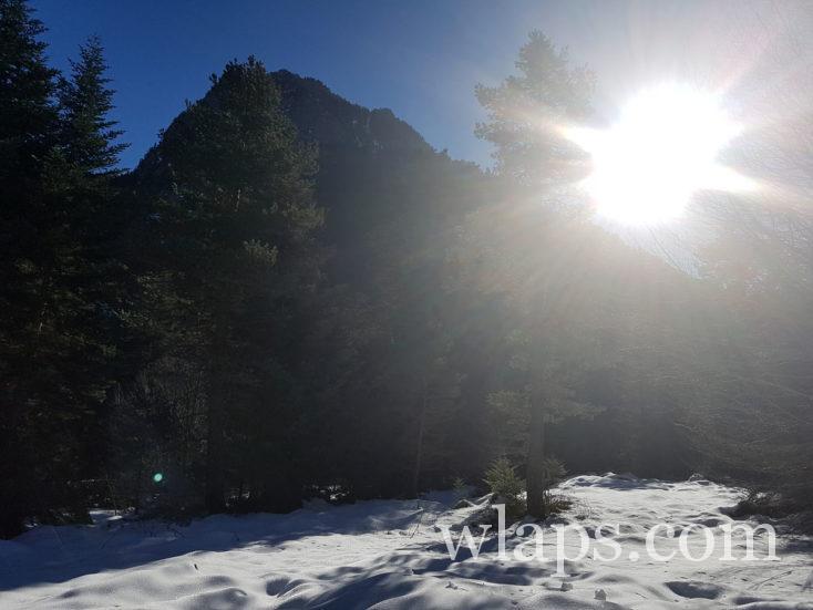 soleil sur la randonnée