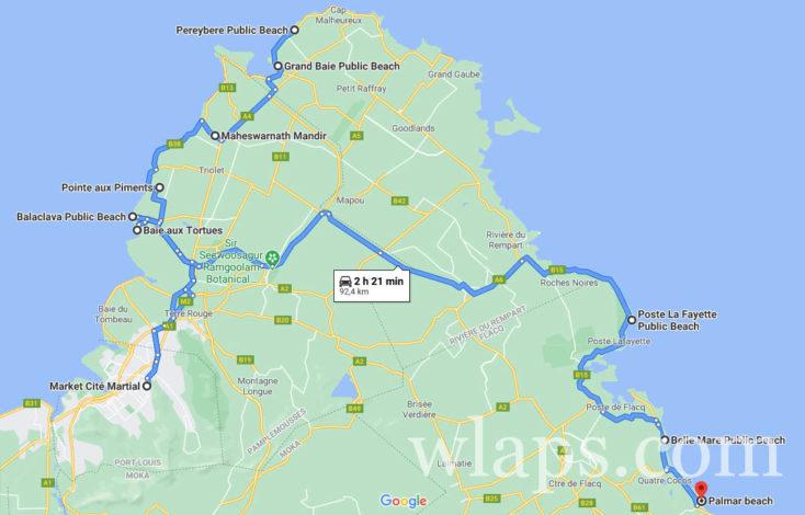 carte google maps pour savoir où loger au nord de l'ile Maurice
