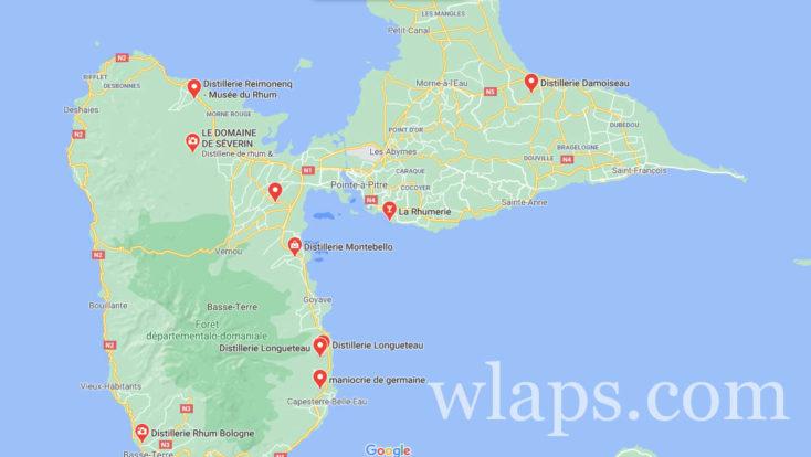 Les distilleries de rhum en Guadeloupe sur une carte