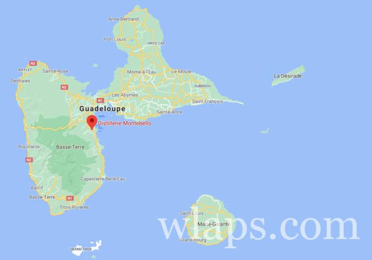 carte google de la distillerie montebello en guadeloupe