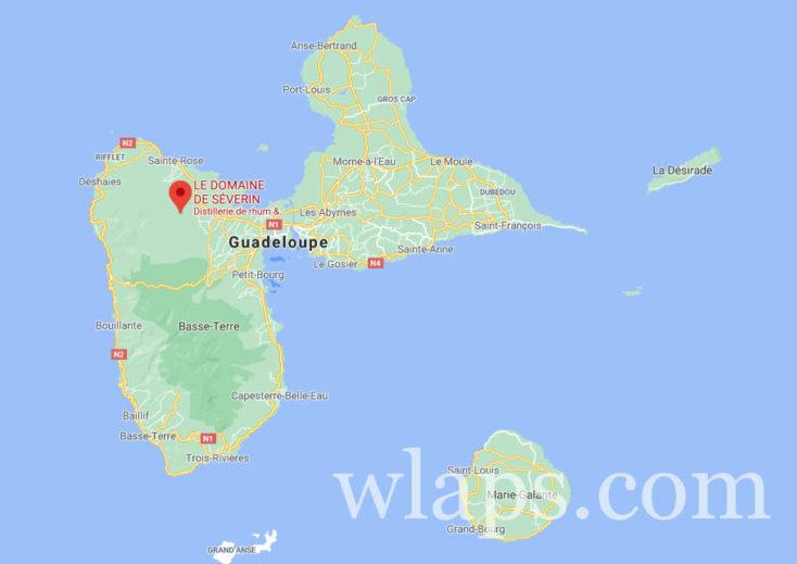 carte google distillerie domaine de severin en guadeloupe