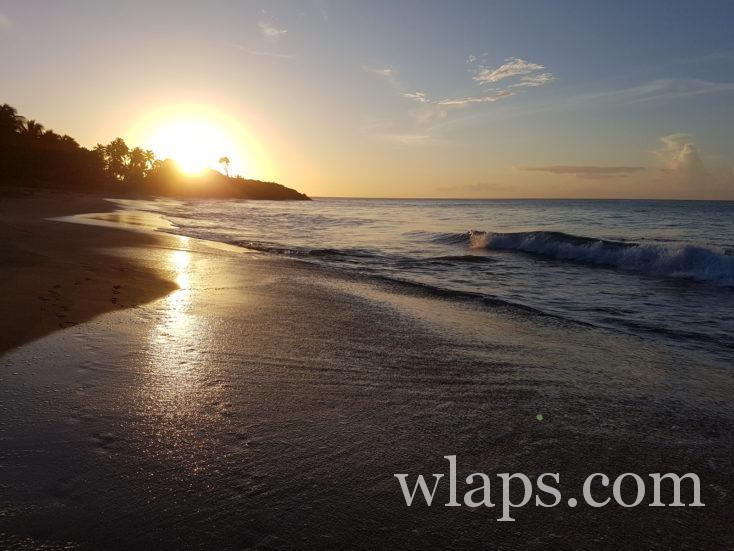 coucher de soleil à la plage de la Perle en décembre