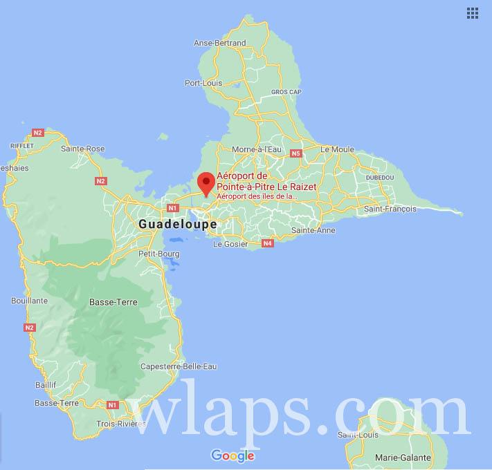 carte de l'aéroport de la Guadeloupe